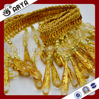 Gold Yellow Color Beaded Fringe Beaded Fabric Curtains For Windows Beads Fringe Wholesale Products Trimming Lace