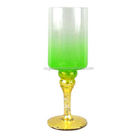 Hand blown tall wine glass shaped long-stemmed votive candle holder
