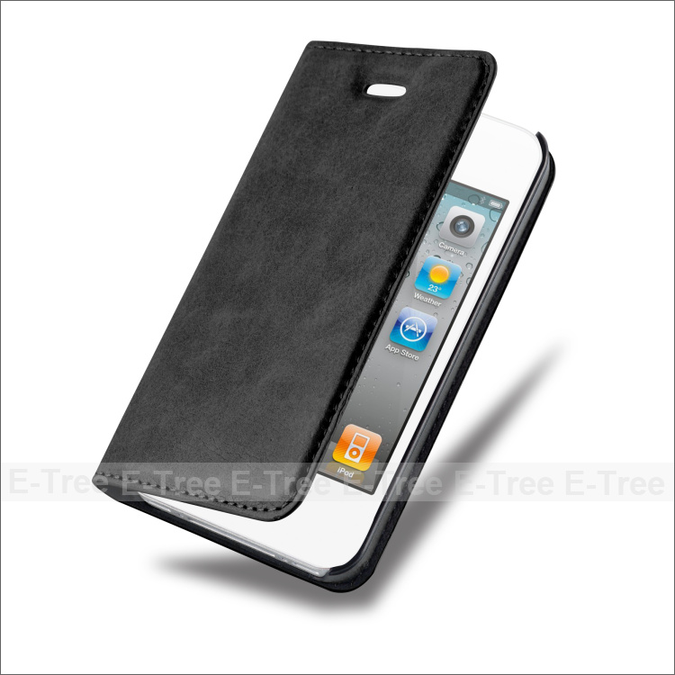 Hot Selling Bookstyle Invisable Magnet Flip Stand Leather Phone Case for iPhone 4