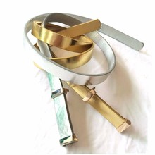 // fashion gold plated belt for women dress // gold pu leather belt with invisible buckle //