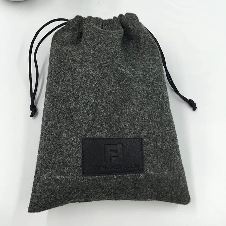 Wholesale Grey Drawstring Felt Bag Pouch With Leather Lable