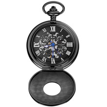 OUYAWEI Stainless Steel Chain Roman Number Skeleton Dial All Black Vintage Automatic Outdoor Pocket Watch Waterproof