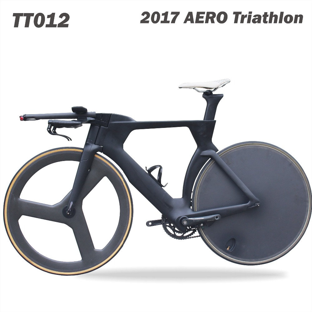 2017 carbon TT bike Full carbon time trial bicycle frame completed bike with disc wheels