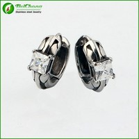 Hot sale trendy big zircon stainless steel silver hoop earrings diamond dangler earrings