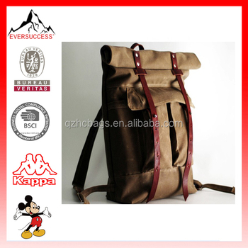 22L New Trendy Vintage Waxed Canvas Backpack