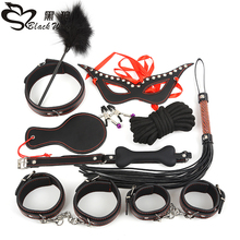 Leather fetish restraints sex products adult game bed bondage 10 pieces per set for couples SM