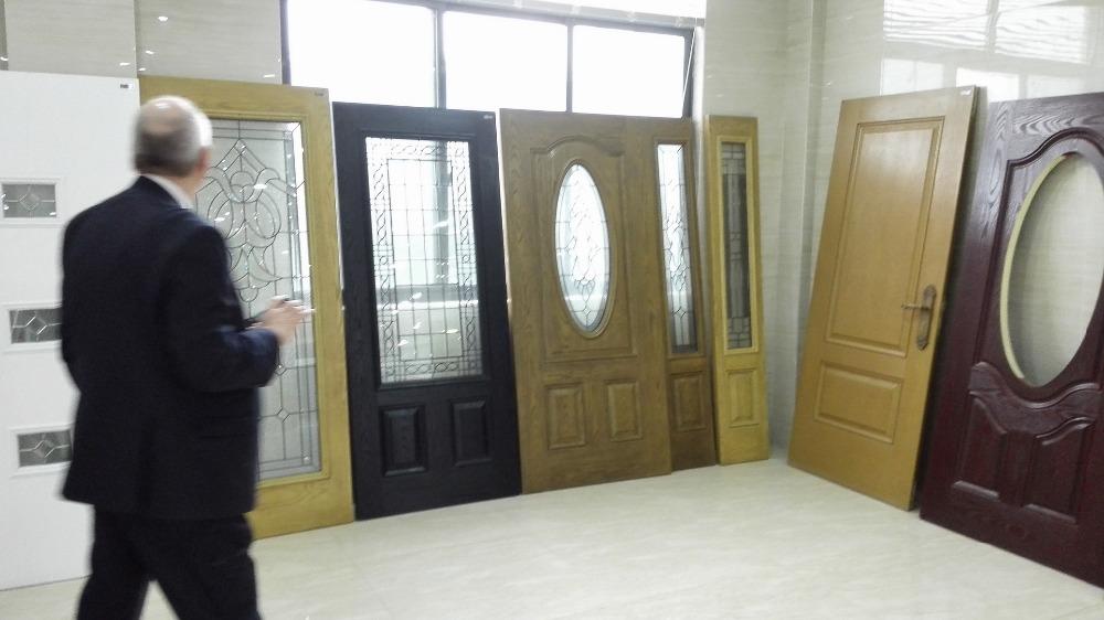 2017 Newest Fiberglass Smc Mahogany Woodgrain Texture Door