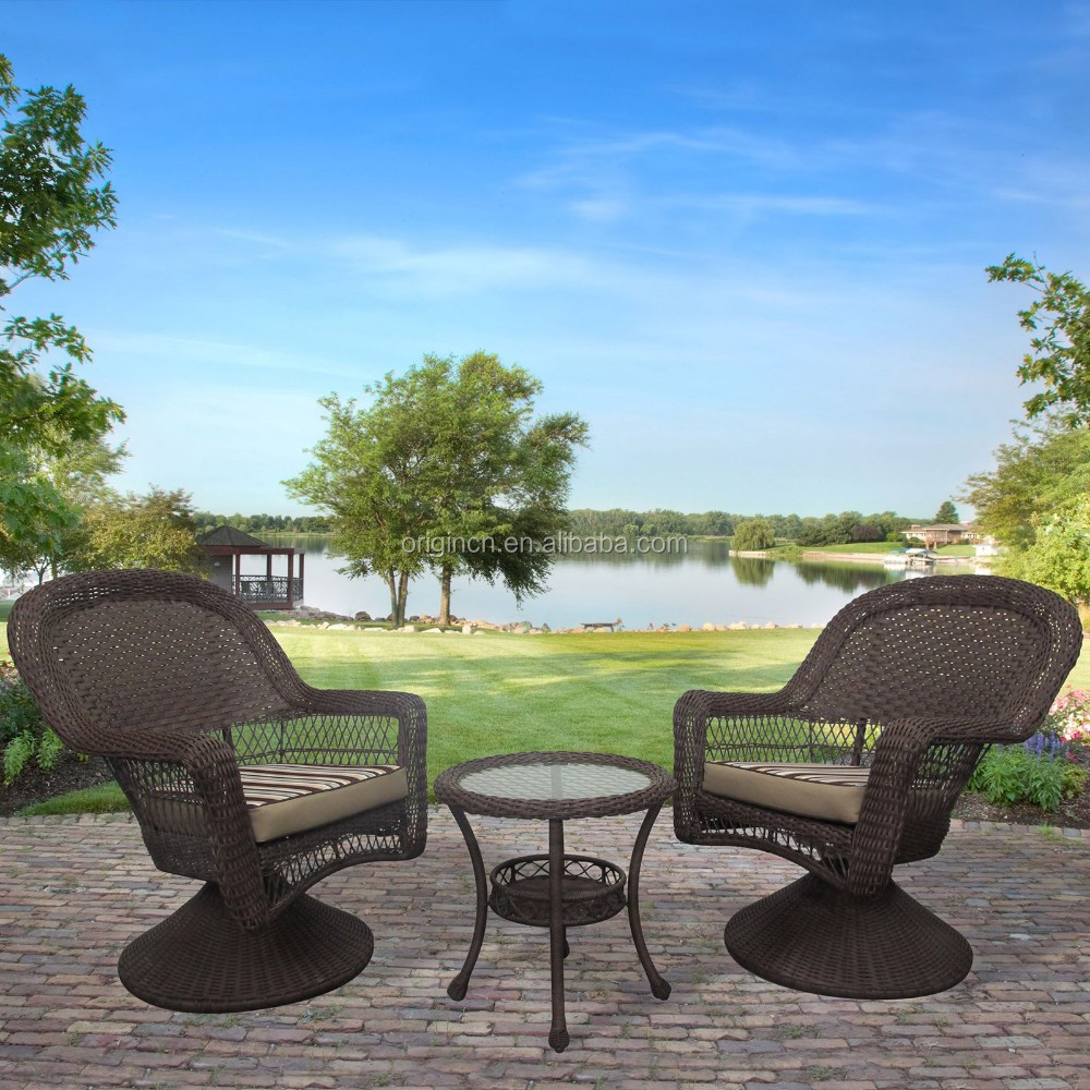 3 piece antique backyard wicker wholesale bistro sets outdoor swivel rattan meditation chair