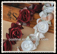 retro solid organza rose flowers trimming, lace trim flower