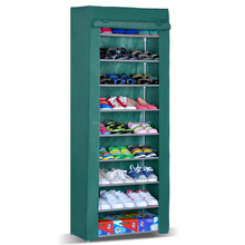 8 Tiers Portable Sturdy Shoes Rack Storage Shoe Organizer with Fabric Closet Shelf Cover Easy to Assemble
