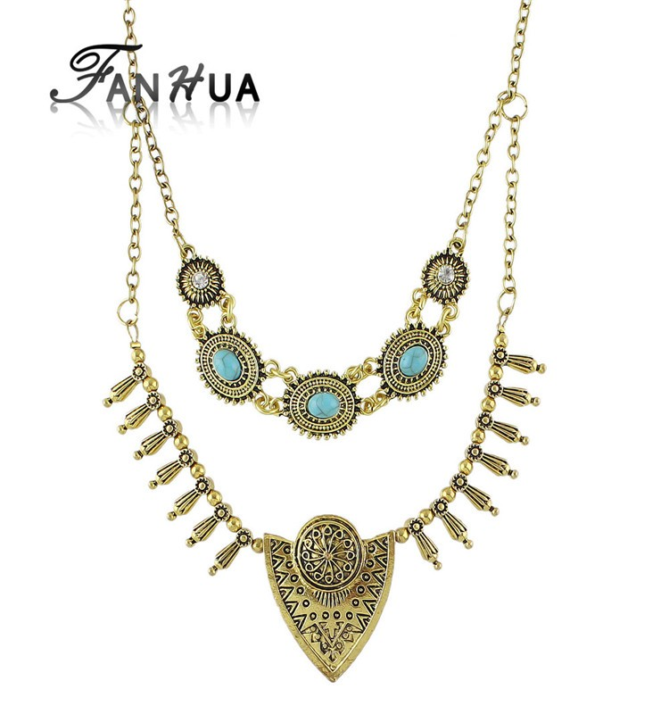 Tibetan Style Double Layers Imitation Turquoise Statement Collar Necklaces