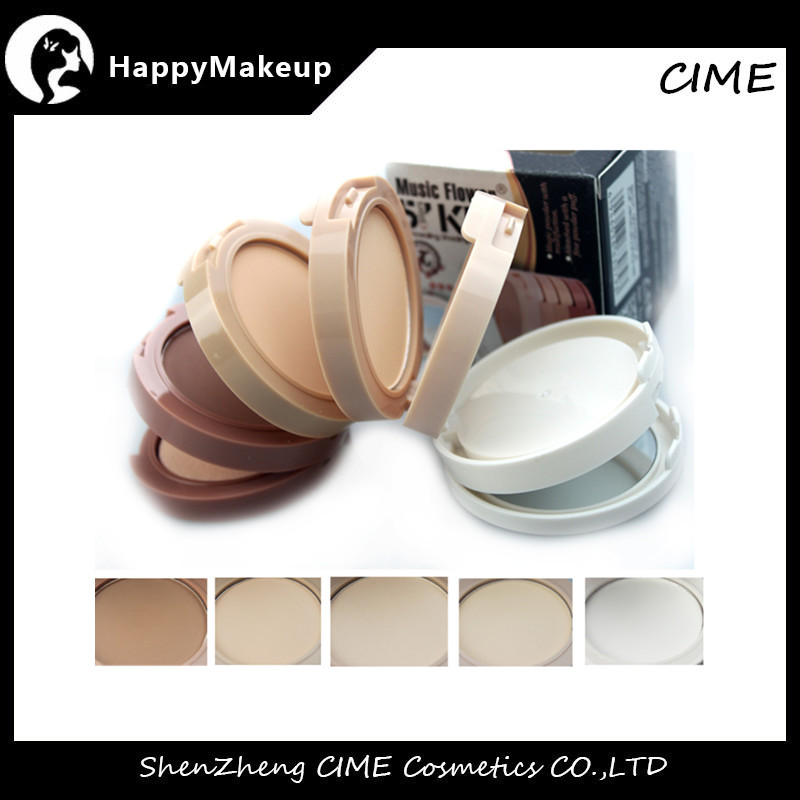 New Cosmeticos 5 colors Kit Compact Puff Cake Face Powder Organic Foundation Ingredients