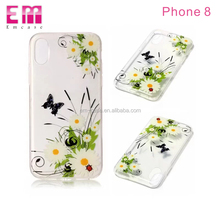 Transparent clear color painting butterfly flower pattern soft tpu phone case for iphone x