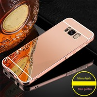 For Samsung Galaxy S8 S8 Plus Case Aluminum Metal bumper and Plastic back cover 2 in 1 style Mirror Surface mobile phone cover