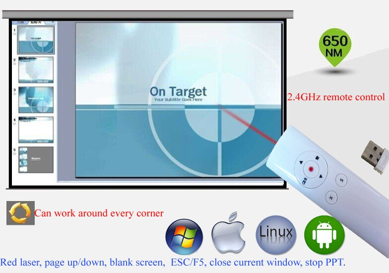 Hot sale Integrated RF Remote Control Card Reader PPT wireless laser presenter for schools for teaching for speaching