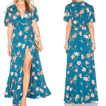 Kimono Sleeve Deep Plunging Women Long Dress With Print Floral Wrap Blue Maxi Dress