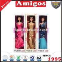 Plastic fashion dolls 11 inch with dress for playing