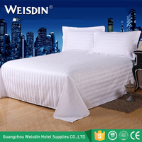 China manufacture wholesale custom hotel bed linen white stripe 100 cotton bed sheet set