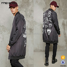 OEM dongguan factory custom mens longline abstract print bomber jacket wholesale