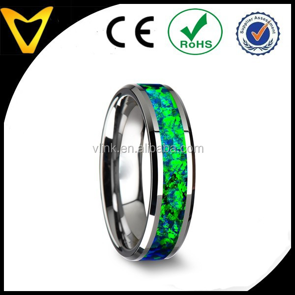 Tungsten Wedding Band with Beveled Edges and Emerald Green & Sapphire Blue Color Opal Inlay ,custom design opal stone ring