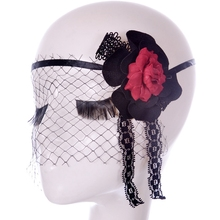 Veil With Red And Black Flower Crochet Lace Eye Mask For Masquerade Party Dress