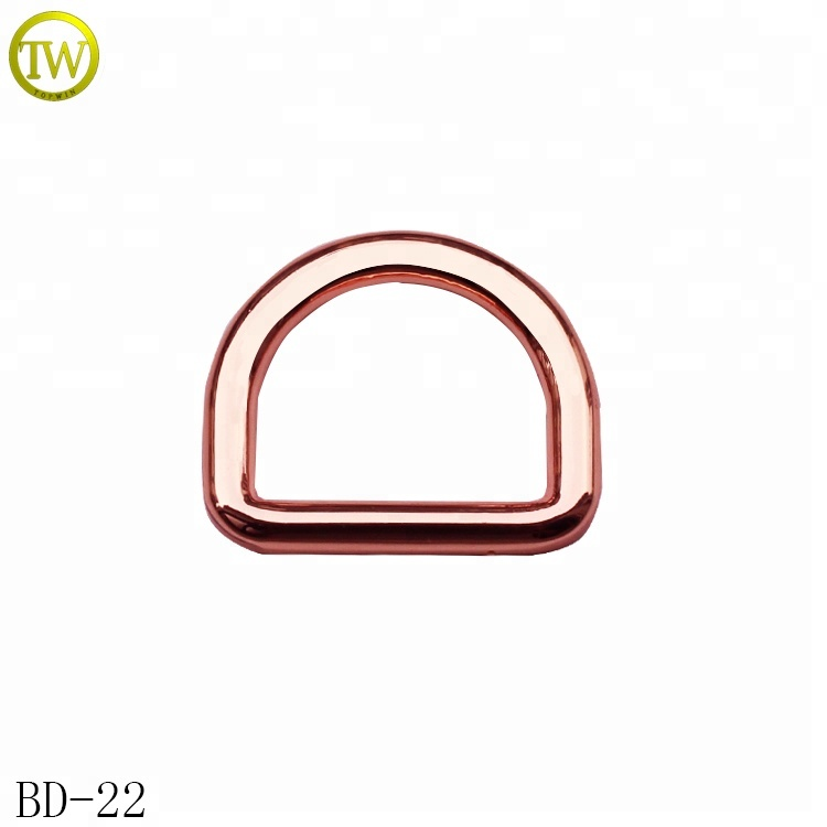 High quality rose gold metal <strong>d</strong> ring buckle for bags /garment