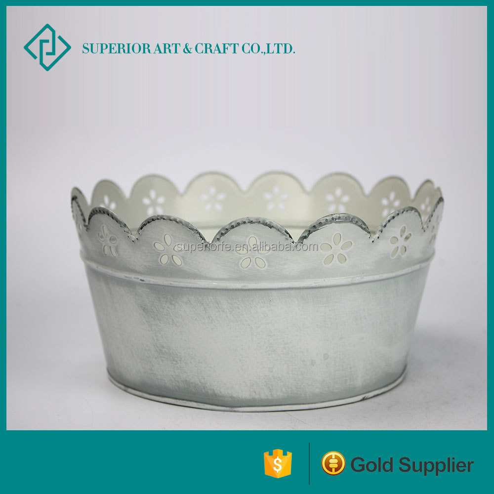 Countryside round planter pot vintage small metal flower pots window box planter For Sale