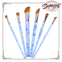 Wholesale art supplies 6 pcs nylon brush and ABS plastic handle material china dagger artist acrylic paint brushes