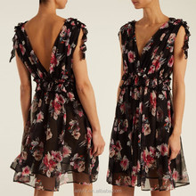 2017 ladies new summer chiffon floral printed mini sleeveless dress