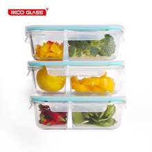 Pyrex Airtight Glass Food Container with 2 Compartment with PP Locking Lid oven Microwave Safe, Waterproof,BPA Free