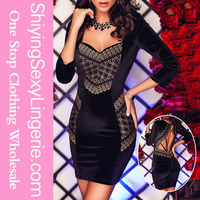 chinese sexy girl Sexy Open Back Sleeved vetement women new fashion Party Dress