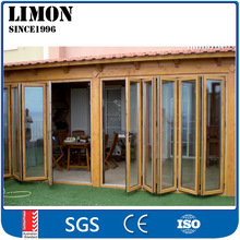 Double Glazing Aluminum Bi Folding screen Door With built in Shutters