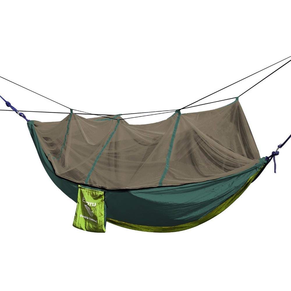 Best quality waterproof custom printed Logo Portable camping nylon hammock with mosquito net and the rain fly