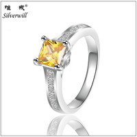 Sun Star Factory sale yellow cubic zirconia 925 sterling silver jewellery ring for women
