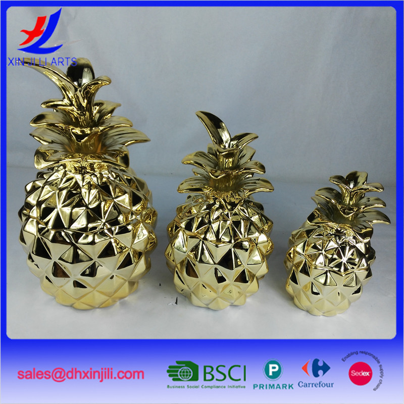 electroplated ceramic pineapple honey jar storage jar