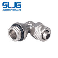 Brass Nickel Plated Pneumatic bsp threaded air tube Swivel Elbow Fittings
