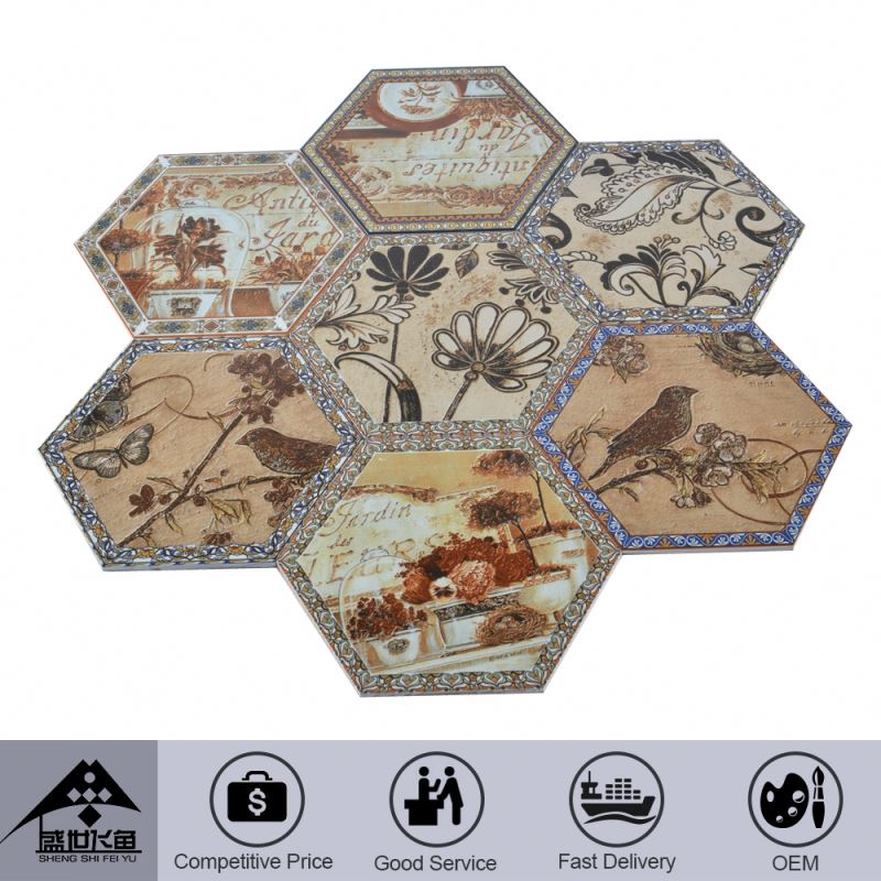 Fancy Popular Design Custom Printing Low Cost Linoleum Floor Tiles