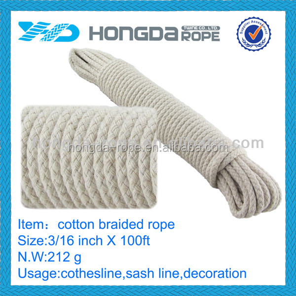 cotton draw cord,natural color braid cotton 5mm rope