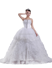 Western luxury white unique design ball gown beaded top wedding dresses China with cathedral train