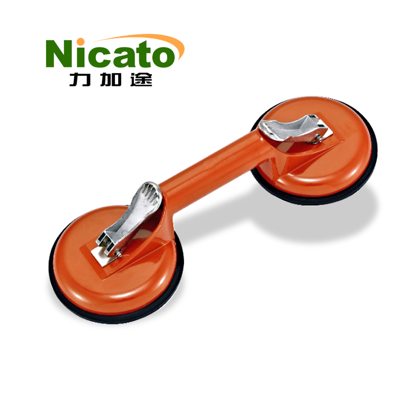 Aluminum alloy 2 claws car vacuum glass suction lifter, glass sucker plate, double handle suction cup