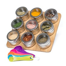 Wall Mounted Spice Storage Tins Stand Magnetic Bamboo Spice Rack