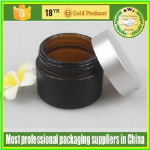 Hot sale 5ml spray square or round glass cosmetic facial packaging cream jar with silver lid made in China free samples