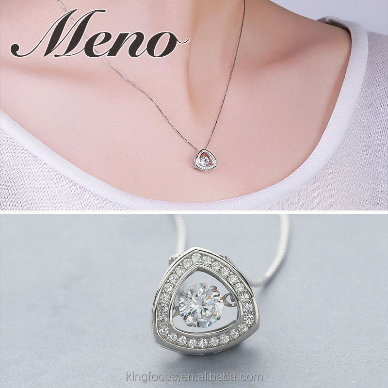 Meno 925 sterling silver new coming triangle-shaped dancing diamond pendant jewelry