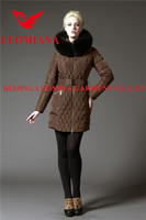 jacquard women short sport hooded down coat with wool shell fabric