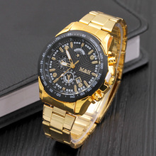 8410 Hot Fashion with Date Full Steel Analog Quartz M&H Brand watch wrist fashion quartz japan movt man watch gold