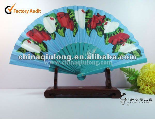Blue Lacquered Wooden Hand Fan With Logo Printing (QL-84970)