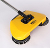 Hot Sale Hand push propelled sweeper natural broom 360 degree rotate spin stick broom straw for hard floor