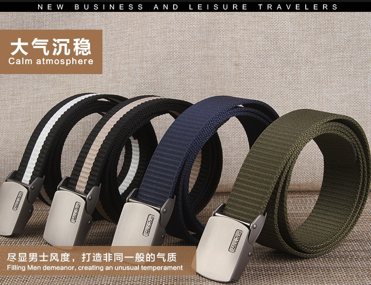 Smooth buckle allergy canvas belt for man