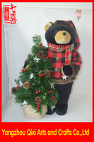 Made in china christmas tree decoration stand soft teddy bear gift with christmas tree&LED light christmas decorating teddy bear