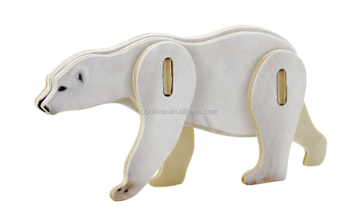 Wholesale DIY 3D wooden toy mini animal Polar Bear puzzle model